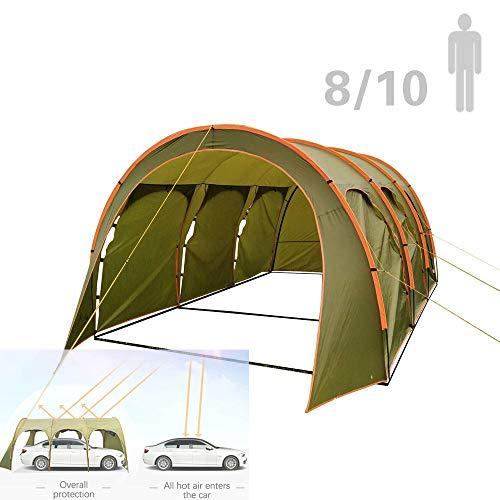 S SMAUTOP Geräumiges Tunnelzelt 8-10 Personen Oder 1 Auto 2000 mm 100{c91561f416c3d715579e33e6894a69ab89ef818734dd4a1111494bfd6bbce997} wasserdicht mit 3,1 * 4,5 * 2,05 m Großen Stauraum für Camping Outdoor Trekking Festival