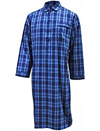 Lloyd Attree & Smith Men's Luxury Cotton Nightshirt - Turquoise Check