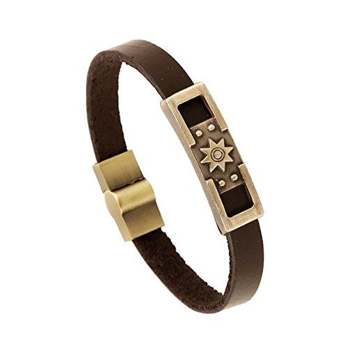 Preisvergleich Produktbild LZHMCircle Leder-Armband-Armband Für Unisex Personalisierte Echtleder Manschetten Sonne Logo-Brown-Farbe