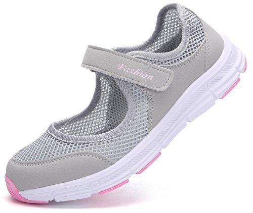 Pastaza Outdoor Fitnessschuhe Damen mit Klettverschluss Leicht Weich Flache Halbschuhe Mesh Atmungsaktive Casual Walking Schuhe,Grau Rosa - 38 EU