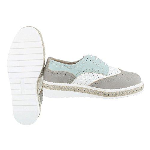 Ital-Design , Chaussures à lacets femme Gris