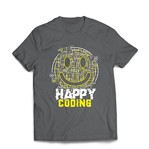 lepni.me Männer T-Shirt Happy Coding - Smiling Gesicht, Gamer, Programmierer Geschenk (XX-Large Graphit Mehrfarben)