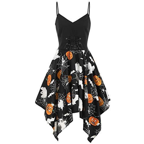 INLLADDY Costume Damen Schwarz Gothic Rock mit V-Ausschnitt und unregelmäßigem Saum und Kürbismuster Kleid Party Steampunk Kostum Halloween Schwarz M