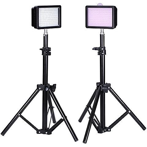 Neewer Bestlight 90082117 - Fotografía 160 LED Kit de iluminación de estudio, incluyendo (2) 160 LED, panel de luz de vídeo de alta potencia para videocámara y cámaras digitales DSLR (2) 32