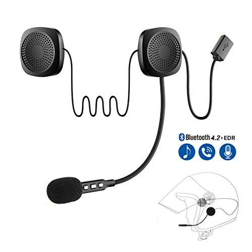 CONRAL Drahtloses Bluetooth-Motorradhelm-Renn-Headset mit Mikrofon, HiFi-Kopfhörer mit Mikrofon, hohe Klangqualität, Soundsystem für Motorradmotorräder