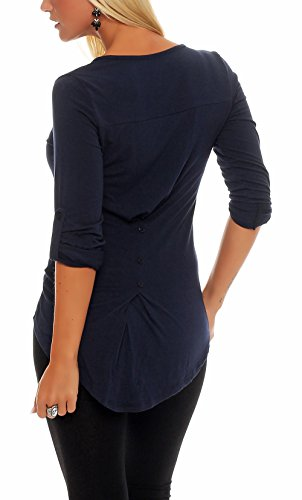 Malito Damen Bluse in Unifarben | Tunika mit Knopfleiste | Blusenshirt ¾ Arm | Hemdbluse