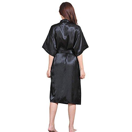 Honeystore Damen Morgenmantel Satin Robe Nachtwäsche Bademantel Kimono Negligee Seidenrobe Schlafanzug lang Schwarz