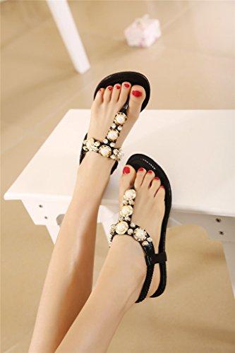 Fortuning's JDS sandali con zeppa moda elegante in rilievo per le donne e le signore Nero