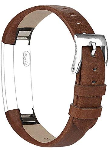 Vancle Lederarmband für Fitbit Alta, Anpassbare Bequemen Fitbit Alta Ersatzarmbänder mit Edelstahl Schnalle (Kein Tracker) (Kaffee)