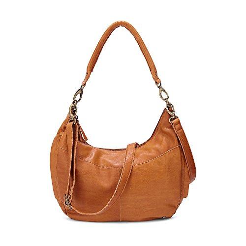 Cox Damen Damen Halbmond-Shopper aus Leder, Hand-Tasche in Braun mit zwei abnehmbaren Schultergurten (44 x 25 x 14 cm) braun OneSize