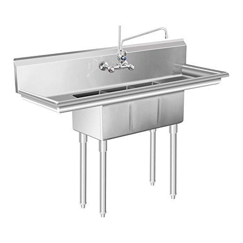 Royal Catering RCHS-9 Spültisch Gastro Spülbecken Edelstahl (3 Becken, 50 x 150 x 110 cm, 20 cm Aufkanterung, 25 cm Beckentiefe, Edelsthl)
