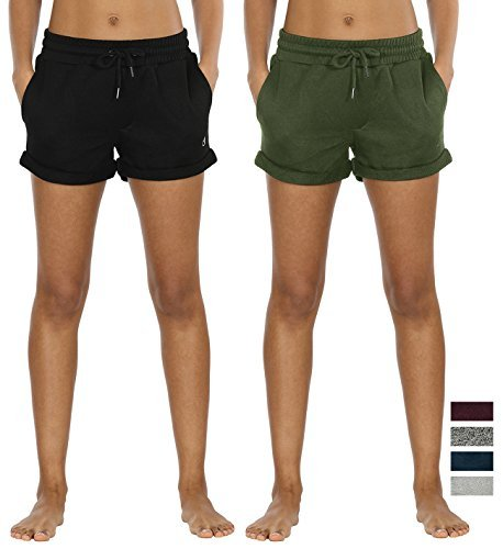 icyzone Damen Baumwolle Shorts Hot Pants Sporthose Strand Running Gym Yoga Shorts Hosen (Black/Green,S)