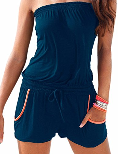 Emma Damen Strapless tr?gelos weg von der Schulter kurzer Overall Sexy Sommer Strand mit Druck Jumpsuits Rompers(NB,L) Junior Strapless Kleider