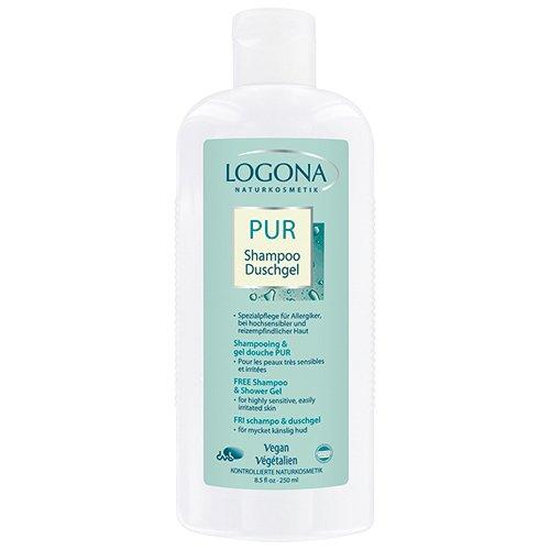 LOGONA Naturkosmetik PUR Shampoo & Duschgel, Reinigt Haut und Haare besonders schonend mit hautmilden Waschsubstanzen natürlichen Ursprungs, Vegan, 250ml