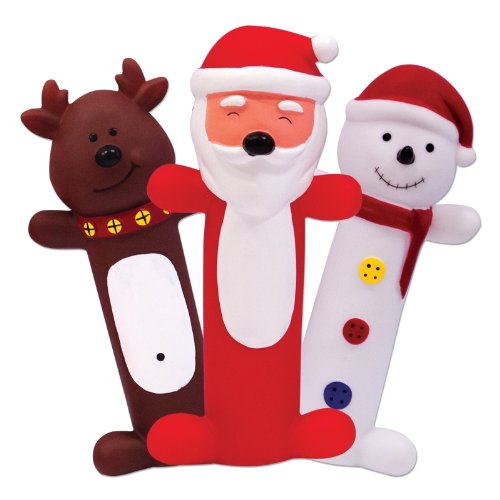 Set of 3 Novelty Squeaky Christmas Dog Toys SANTA CLAUS, REINDEER & SNOWMAN