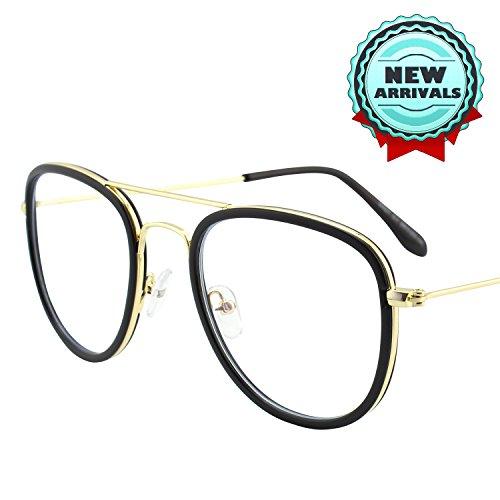 ulicht-Filter-Computer-Gläser, Antiblendung, Anti-Augenermüdung, 100% UVschutz, transparente Objektiv-klassische Flieger-Metallrahmen, GQ27 (Glück Blockieren)