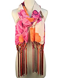 Vozaf Women's Viscose Stoles & Scarves - Orange And Pink With Floral Print