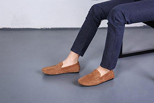 OZZEG Men's Leder Loafer Schuhe feste Farbe Moccasin Fashion Designed Braun