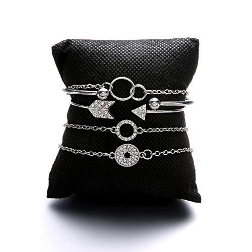 ristall Pfeil Kreis Charme armbänder Set für Frauen New Vintage Armband weiblichen modeschmuck ()