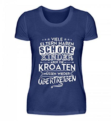 Shirtee Hochwertiges Damen Organic Shirt - Kroatien Shirt/Viele Eltern Haben Schöne Kinder aber Kroaten Müssen Übertreiben/Hrvatska Lila Blau