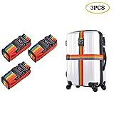 Cinture per Valigie Arcobaleno Buggage Straps, Cinghie da Viaggio Bagagli, Imballaggio Cintura Valigia con Fibbia Sicura Imballaggio Veloce per Etichette Identificatore, 3 PACKS