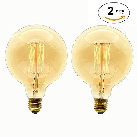 Big Taille ampoule à incandescence E2740W 220V G125Glob ampoules à filament rétro vintage style antique Edison lampe..., Lot de 2