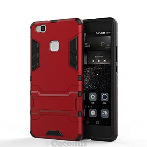 Huawei P9 lite Coque, Cocomii Iron Man Armor NEW [Heavy Duty] Premium Tactical Grip Kickstand Shockproof Hard Bumper Shell [Military Defender] Full Body Dual Layer Rugged Cover Case Étui Housse (Red)