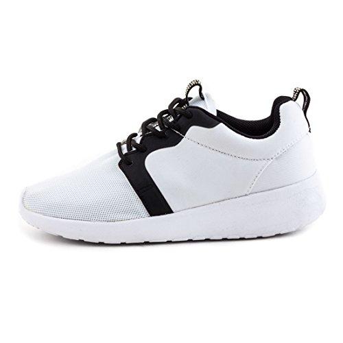 Unisex Damen Herren Laufschuhe Schnür Sneaker Sport Fitness Turnschuhe X-Weiß/Schwarz