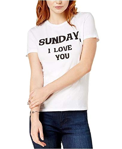 Dream Scene Damen-T-Shirt, kurzärmelig, Aufschrift Sunday I Love You - Weiß - Klein - T-shirts Damen Graphic Niedlich