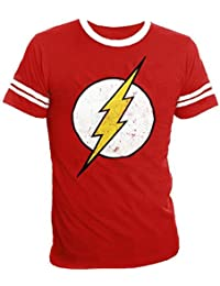 The Flash Distressed Logo With Striped Sleeves Red Adult T-shirt Tee