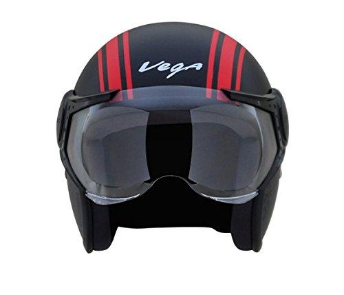 Vega Jet Old School Open Face Helmet (Dull Black and Red, L)