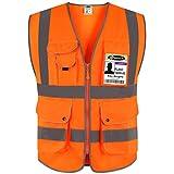 JKSafety Nueve bolsillos Nivel 2 Uniforme trabajo Chaleco con cremallera-Chaleco reflectante fluorescente-Chaleco de segurida Naranja(X-Large)