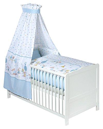 Baby-Betten-Set Babybettwäsche 3-tlg HAPPY ANIMALS 1 | Baumwolle | Blau | mit Himmel Bett, Bettdecke Und Co