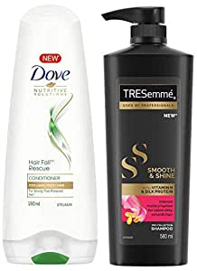Dove Hair Fall Rescue Conditioner, 180ml & TRESemme Smooth and Shine Shampoo, 580ml