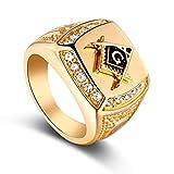 Ballylelly Sello del Anillo del Cristal de Bling del Rhinestone del Anillo de la aleación de Oro de los Hombres de Hip Hop joyería