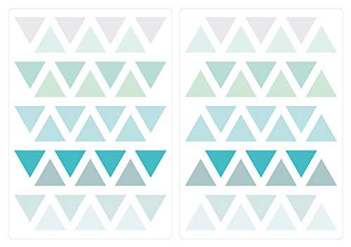 dekodino Wandtattoo Kinderzimmer Wandsticker Set Dreiecke in Einer modernen Farbkombinat