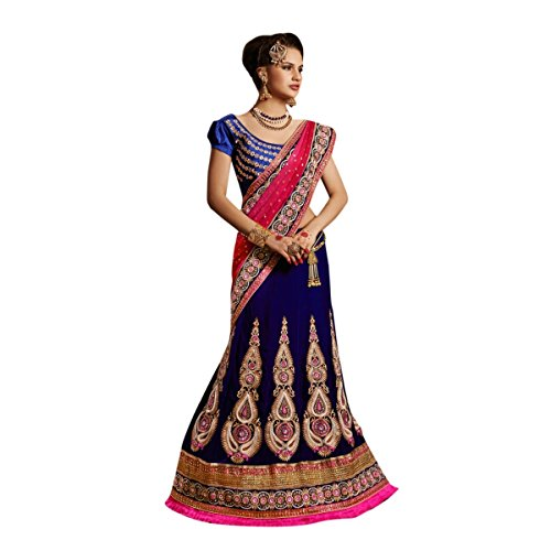 Aagaman Fashions Velvet Lehenga Sarees (TSXFL1604_Blue)