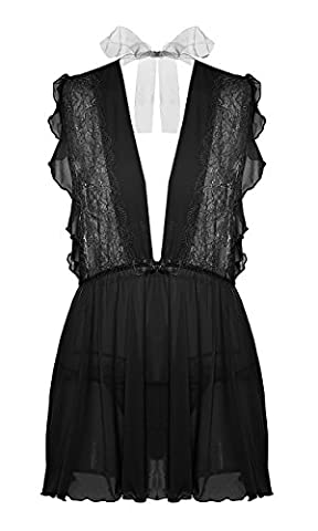 BMAKA Women Retro Lace Lingerie Bow tie Chemise Baby doll