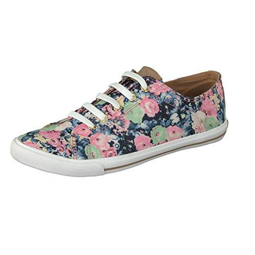 GOSCH SHOES SYLT Damen Sneaker 7114-303 mit Blumenmuster in 2 Farben (41, Blau) (Sneaker Mit Blumen, Frauen)