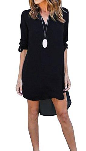 Minetom Damen Sommer Sex A-Linie Lose Langarm Hemdkleid Chiffon Lange Hemd Bluse Tops V Ausschnitt Casual Blusenkleid Minikleid Schwarz DE 42