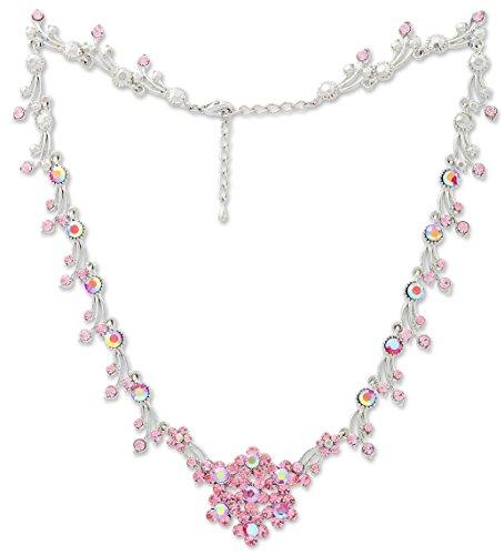 Tillberg Halskette rosa mit Swarovski-Steinen besetzt Damen Collier edler Damen Halsketten Schmuck mit Swarovski Steinen besetzt Schneeflocke rosa 5314