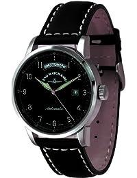 Zeno Watch Basel Magellano Big Day 6069DD-a1 - Reloj de caballero automático con correa de piel negra