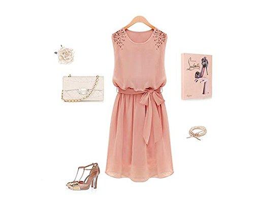 cooshional Damen O-Ausschnitt Chiffonkleid Sommer Elegant Partykleid Prinzessin Kleid Brautjungfernkleid Strandkleid Rosa