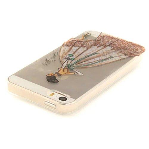 iPhone 5S Hülle, iPhone SE Hülle, Gift_Source [ Pinguin ] Hülle Case Transparent Weiche Silikon Schutzhülle Handyhülle Schutzhülle Durchsichtig TPU Crystal Clear Case Backcover Bumper Case für iPhone  E1-Abendkleid