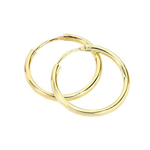 NKlaus PAAR 585 gelb Gold CREOLE Ohrringe Ohrschmuck rund Goldohrringe 20mm 1848