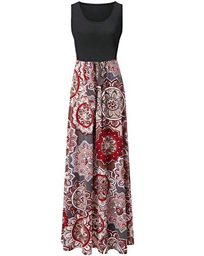 ABRAVO Femmes Robe de Plage Été Longue Maxi Robe Boho sans Manches Boheme Imprimée Robe De Soleil (XL, Marron)