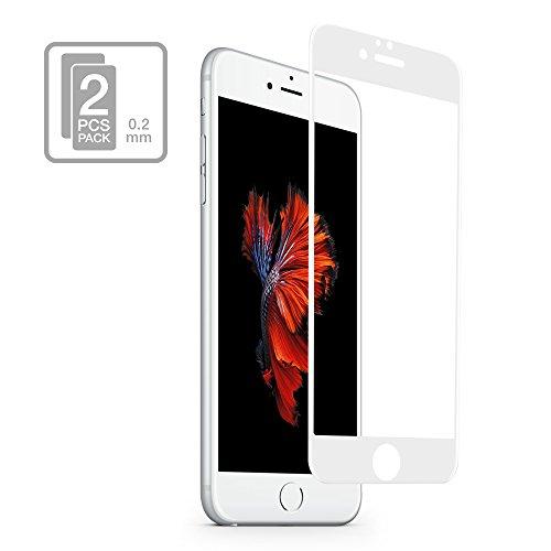 multifun 2 Pack Pellicola Protettiva per iPhone 6 6plus,Pellicole Protettive in Vetro Temperato Resistente,Schermo Protezione Alta Qualità,Screen Protector Ultra Sottile 0.02cm (iPhone 6Plus, Nero) Bianco