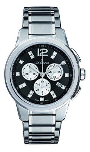 Grovana-Orologio Unisex al quarzo con Display con cronografo e cinturino in acciaio INOX color argento 2094,9237