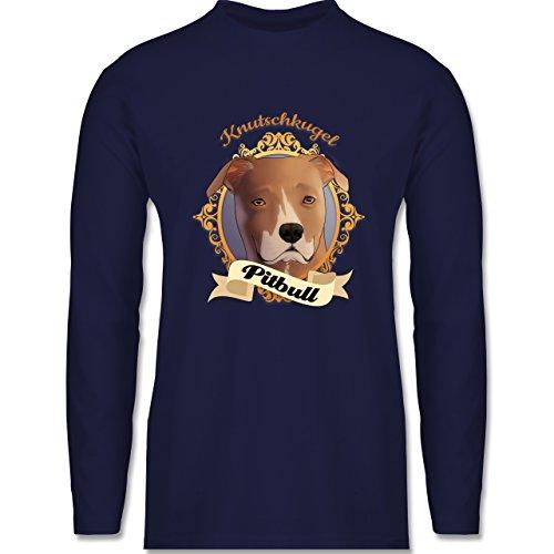 Hunde - Pitbull - Knutschkugel - Longsleeve / langärmeliges T-Shirt für Herren Navy Blau