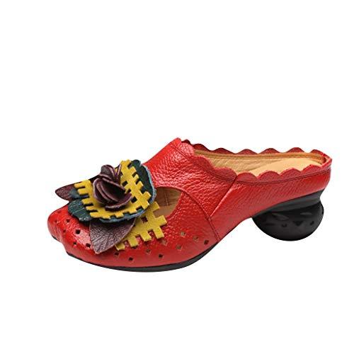 Sandali da Donna, YU'TING ☀‿☀ Ciabatte in Pelle Pantofole Mocassini Pompe Estive Slip-On Fiore Vintage Senza Schienale Flip Flops Sandali Infradito Spiaggia 2019 35-41 EU